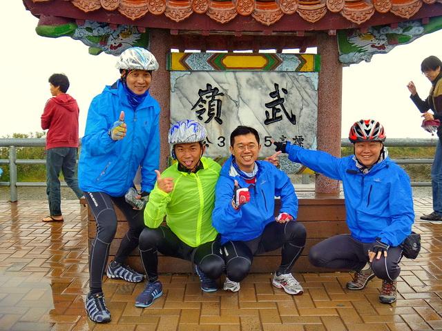 101年高山環島:台灣最高的公路「中橫公路東進騎上武嶺之巔」海拔3275公尺。 參加人員:Allen、Fox、一郎、Vic。